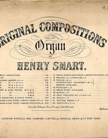 Twelve Short and Easy Pieces in various Styles - No's. 1 - 4 - Original Compositions for the Organ Series No. 11