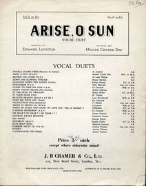 Arise O Sun - Song arranged as a vocal duet in the key of D flat major