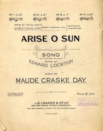 Arise O Sun - Song arranged as a vocal duet in the key of E flat major