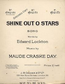 Shine Out O Stars - Song in the key of D flat major for low voice