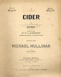 Cider - Song in the Key of D Major for High Voice