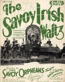 The Savoy Irish Waltz - Played by The Savoy Orpheans 1927 at the Savoy Hotel, London - Lawrence Wright 6d edition No. 1738