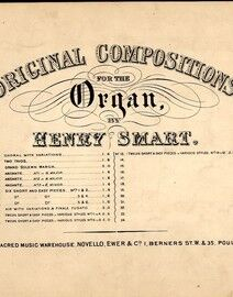 Six Short and Easy Pieces No.s 5 & 6 - No. 9 from 'Original Compositions for the Organ'
