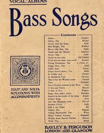 Bass Songs - The Standard Vocal Albums Series - Book One - Staff and Sol-Fa Notations with accompaniments