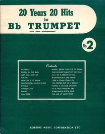 20 years 20 hits for B flat Trumpet (with piano accompaniment) - Volume No. 2