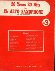 20 years 20 hits for E flat Alto Saxophone (with piano accompaniment) No. 3