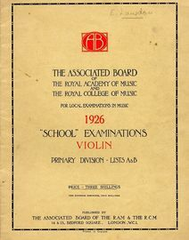 School examinations in Violin, 1926 - Primary Division - Lists A and B