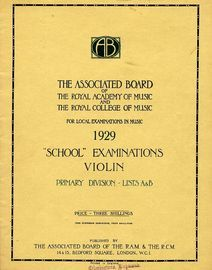 School examinations in Violin, 1929 - Primary Division - Lists A and B