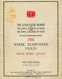 School examinations in Violin, 1931 - Primary Division - Lists A and B