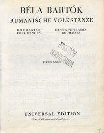 Roumanian Folk Dances - For Piano Solo - Universal Edition No. 5802