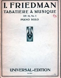 Tabatiere a Musique - Op. 33, No. 3 - For Piano Solo - Universal Edition No. 2539a