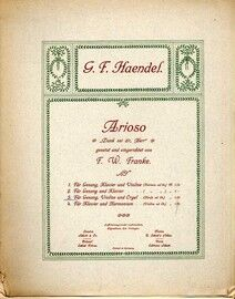 Haendel - Arioso - For Voice, Violin & Organ with Harp ad. lib