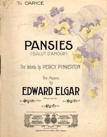 Pansies - Song - Based on Elgar's Salut D'Amour - Key of E flat major for Low Voice
