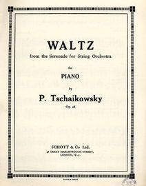 Waltz from the Serenade for Strings - For piano solo  - Op. 48