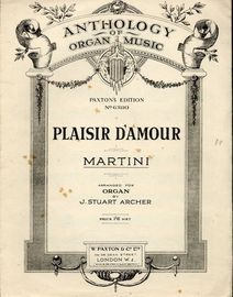 Plaisir D' Amour - Paxtons Edition No. 63110 - Paxtons Anthology of Organ Music