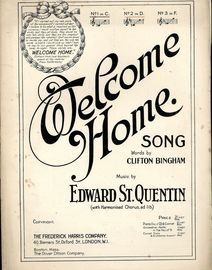 Welcome Home - Song - In the key of D major for medium voice