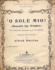 O Sole Mio (Beneath thy window) arranged for piano solo