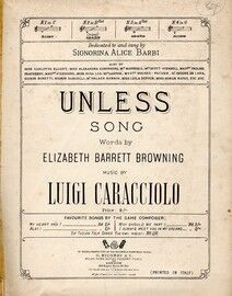 Unless - Song in the key of B flat major - Dedicated to and sung by Signorino Alice Barbi