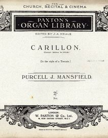 Carillon (In the style of a Toccata) - Paxtons Organ Library - Paxtons Edition No. 57338 - Op. 99