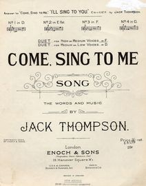 Come Sing To Me - Song arranged as a Vocal Duet in the key of D major for low voices