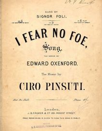 I Fear No Foe - Song in the key of C major for Baritone or Bass voice
