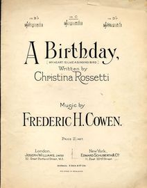 A Birthday (My Heart is Like a Singing Bird) - Song - In the key of C major for medium voice