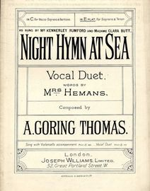 Night Hymn at Sea - Vocal Duet  - As sung by Mr. Kennerley and Madame Clara Butt in the key of E flat major for  Soprano & Tenor