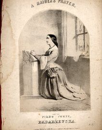 A Maidens Prayer. Piano Solo. Lithograph by A Laby, printed by Stannard & Dixon