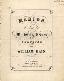 Marion - Song in D flat major - As sung by Mr Sims Reeves