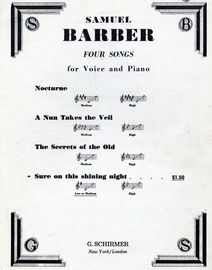 Barner  - Four Songs for Voice and Piano - No. 4  Sure on this Shining Night - For Low or Medium Voice