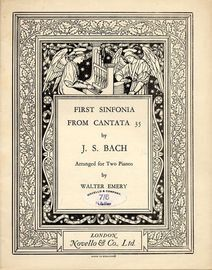 First Sonata from Cantata 35  -  Arranged for Two Pianos by Walter Emery