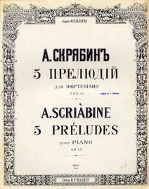 5 Preludes pour Piano - Op. 15 - Edition M. P. Belaieff