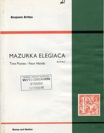 Britten - Mazurka Elegiaca - For Two Pianos - Op. 23, No. 2