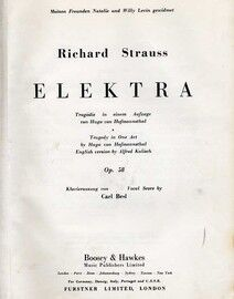 Richard Strauss - Elektra - Tragedy in One Act in German or English - Op. 58 - Vocal Score