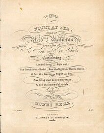 Night at Sea - Sung by Madame Malibran and Miss M. Cooper - From a Set of Six Songs and Two Duets
