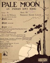 Pale Moon - An Indian Love Song - Key of B flat major for high voice - Concert Edition