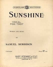 Sunshine - Vocal Fox-trot - Duff Stewart & Co Popular Editions