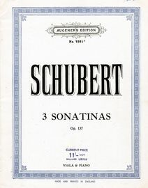 3 Sonatinas -  Op. 137 - For Viola and Piano - Augeners Edition No. 7571a