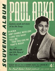 Paul Anka - Souvenir Album - Contains words and music of his hit songs also new photographs and life story