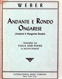 Andante E Rondo Ongarese (Andante and Hungarian Rondo) - For Viola and Piano - With Seperate Viola Part