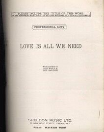 Love is all we Need - Professional Copy