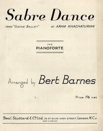 Sabre Dance, from Gayne Ballet, for pianoforte