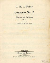 Concerto No. 2 - Clarinet and Orchestra - Op. 74 - Reduced for Clarinet in B flat and Piano