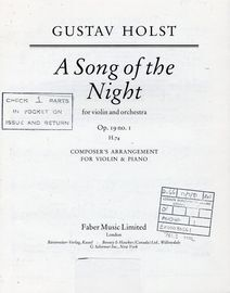 A Song Of The Night - For Violin and Orchestra - Op. 19 No. 1 H. 74