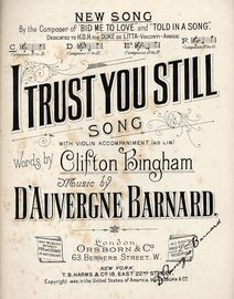 I Trust You Still  -  Song With Violin Accompaniment - In the key of C major for Low Voice