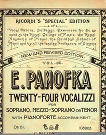 Panofka - Twenty-four Vozalizzi Vol. 29 - Soprano, Mezzo-soprano or Tenor with pianoforte accompaniment - Vocal Tutor
