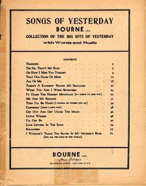 Songs of Yesterday - Bourne Inc. Collection of the Big Hits of Yesterday - With Words and Music
