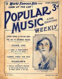 Popular Music and Dancing Weekly - November 29th 1924 - No. 45, Vol. IV - Featuring Miss Isobel Elsom