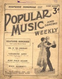 Popular Music and Dancing Weekly - October 31st, 1925 - No. 93, Vol. VIII - Featuring Santos Casani and his Dance partner Miss Jose Lennard