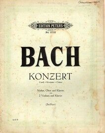 Bach - Konzert in C Minor - For 2 Violin and Piano - Edition Peters No. 3722